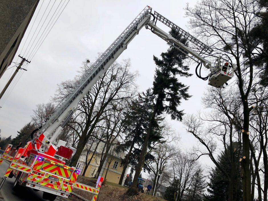 Zásah u poškozených stromů ve Slatině